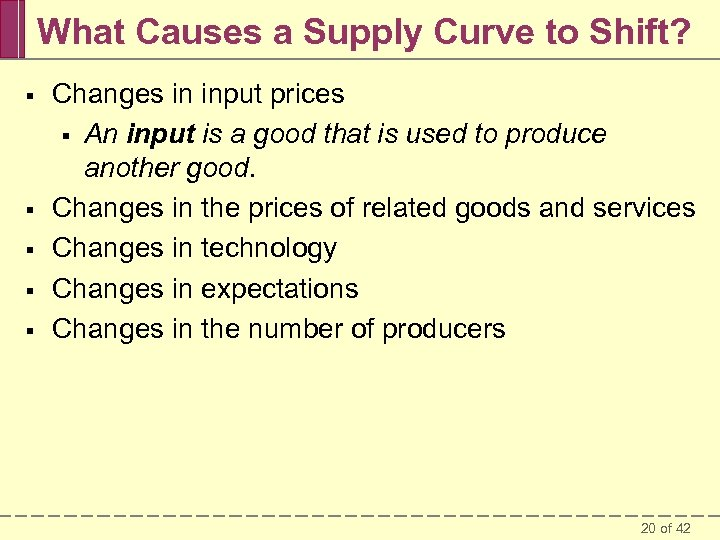 What Causes a Supply Curve to Shift? § § § Changes in input prices
