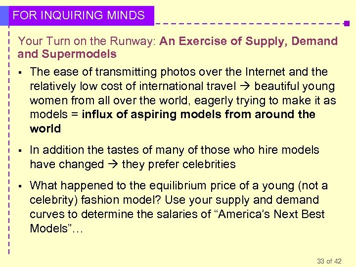 FOR INQUIRING MINDS Your Turn on the Runway: An Exercise of Supply, Demand Supermodels