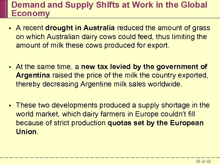 Demand Supply Shifts at Work in the Global Economy § A recent drought in