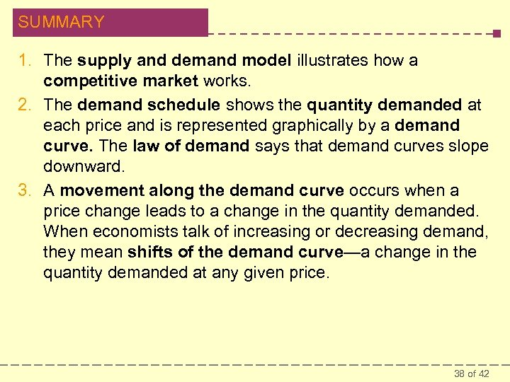SUMMARY 1. The supply and demand model illustrates how a competitive market works. 2.