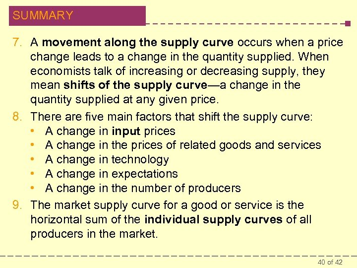 SUMMARY 7. A movement along the supply curve occurs when a price change leads