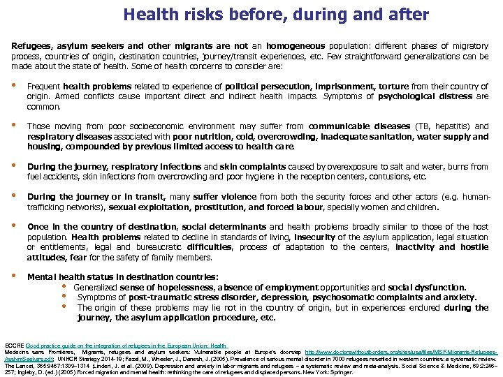 Health risks before, during and after Refugees, asylum seekers and other migrants are not