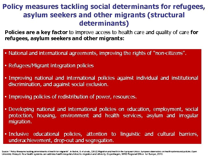 Policy measures tackling social determinants for refugees, asylum seekers and other migrants (structural determinants)