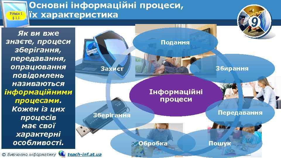 Розділ 1 § 1. 1 Основні інформаційні процеси, їх характеристика Як ви вже знаєте,