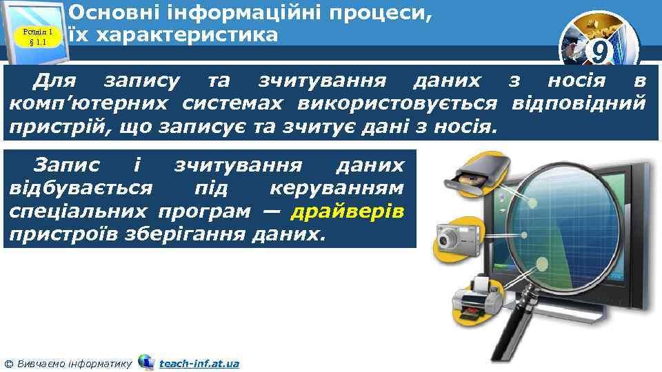 Розділ 1 § 1. 1 Основні інформаційні процеси, їх характеристика 9 Для запису та