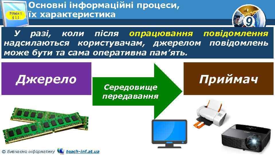 Розділ 1 § 1. 1 Основні інформаційні процеси, їх характеристика 9 У разі, коли
