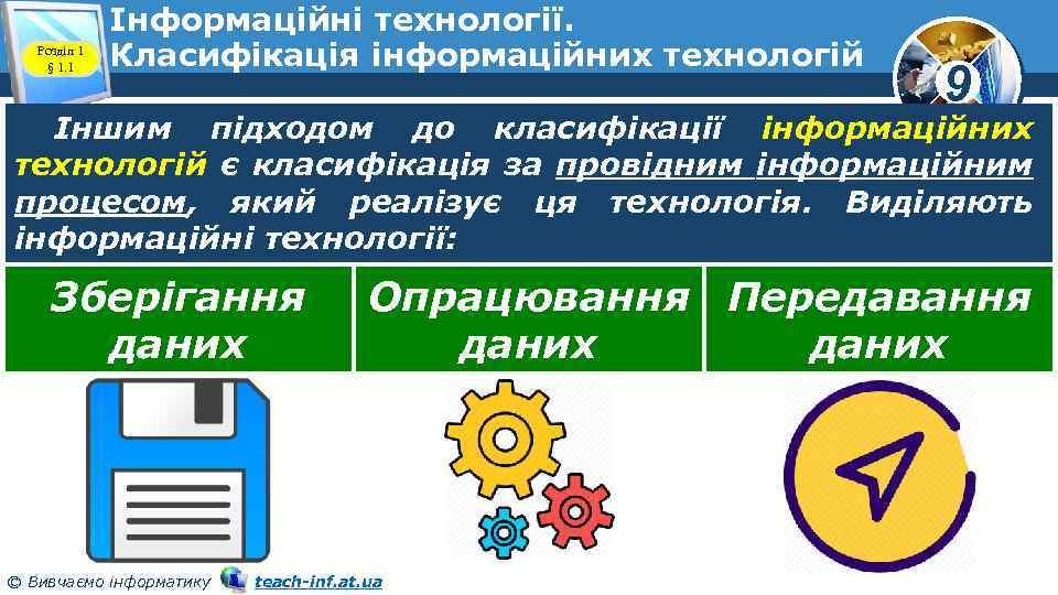 Розділ 1 § 1. 1 Інформаційні технології. Класифікація інформаційних технологій 9 Іншим підходом до