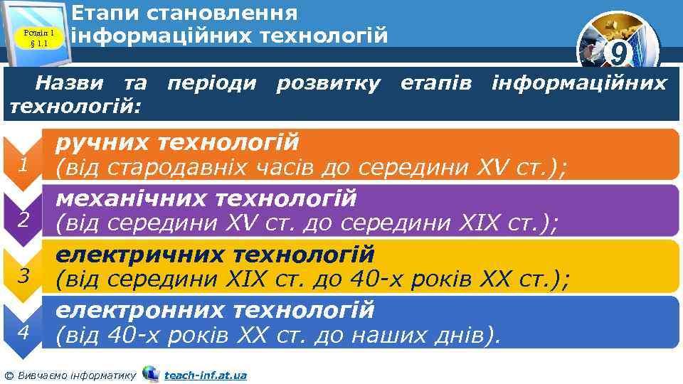 Розділ 1 § 1. 1 Етапи становлення інформаційних технологій 9 Назви та періоди розвитку