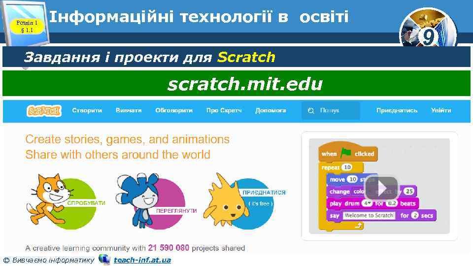 Розділ 1 § 1. 1 Інформаційні технології в освіті Завдання і проекти для Scratch
