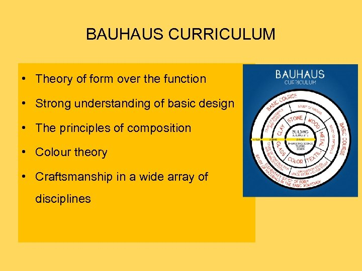 BAUHAUS CURRICULUM • Theory of form over the function • Strong understanding of basic
