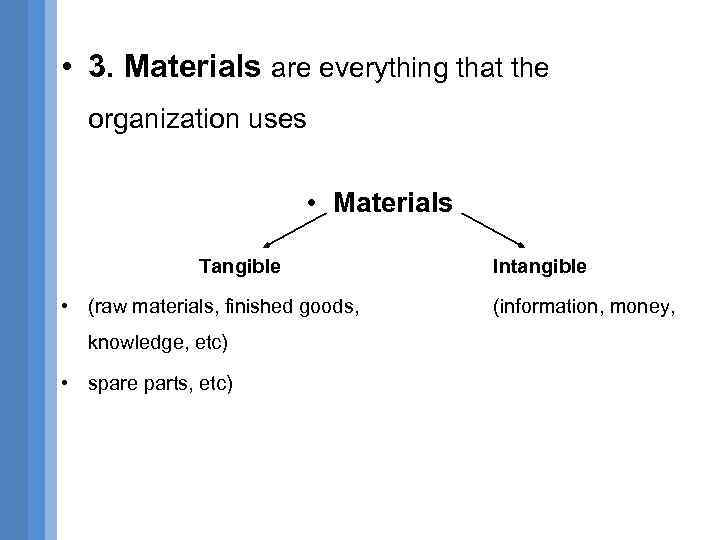 • 3. Materials are everything that the organization uses • Materials Tangible •