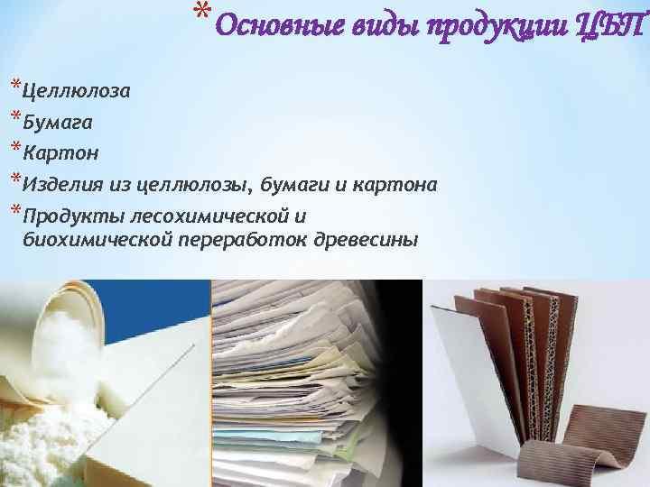 *Основные виды продукции ЦБП *Целлюлоза *Бумага *Картон *Изделия из целлюлозы, бумаги и картона *Продукты