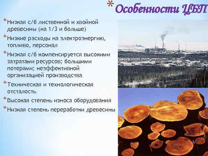 * Низкая с/б лиственной и хвойной *Особенности ЦБП древесины (на 1/3 и больше) *
