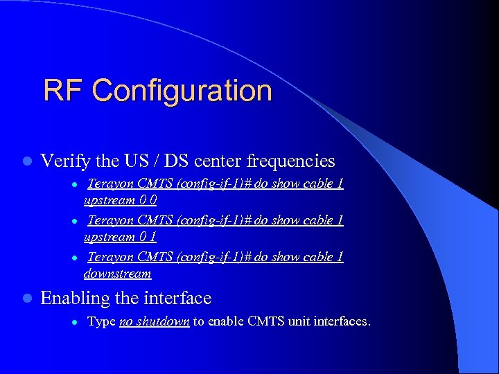 RF Configuration l Verify the US / DS center frequencies l l Terayon CMTS