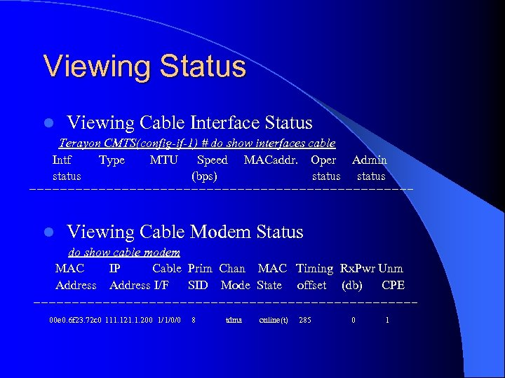 Viewing Status l Viewing Cable Interface Status Terayon CMTS(config-if-1) # do show interfaces cable