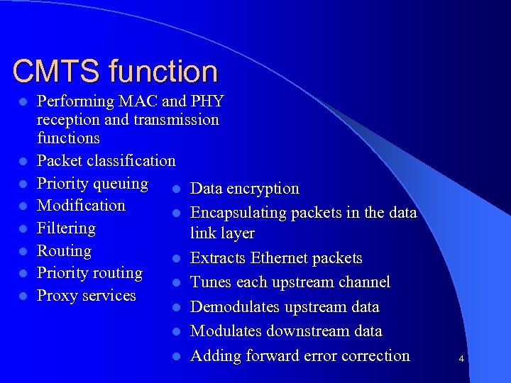 CMTS function l l l l Performing MAC and PHY reception and transmission functions
