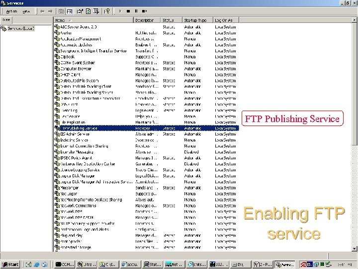 FTP Publishing Service Enabling FTP service