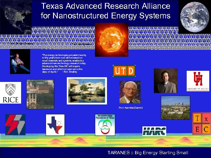 Texas Advanced Research Alliance for Nanostructured Energy Systems Prof. Richard Smalley Prof. Alex Ignatiev