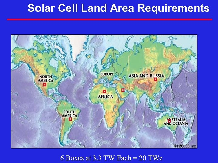 Solar Cell Land Area Requirements 6 Boxes at 3. 3 TW Each = 20