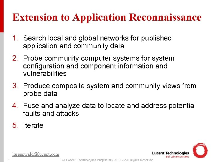 Extension to Application Reconnaissance 1. Search local and global networks for published application and