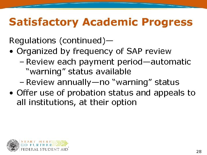 Satisfactory Academic Progress Regulations (continued)— • Organized by frequency of SAP review – Review