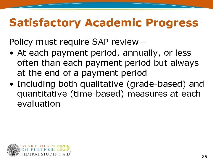 Satisfactory Academic Progress Policy must require SAP review— • At each payment period, annually,