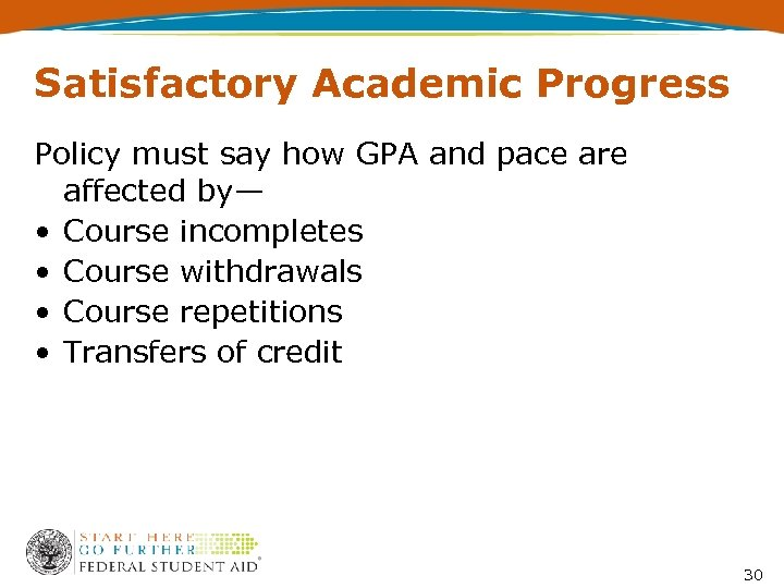 Satisfactory Academic Progress Policy must say how GPA and pace are affected by— •