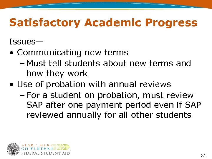 Satisfactory Academic Progress Issues— • Communicating new terms – Must tell students about new