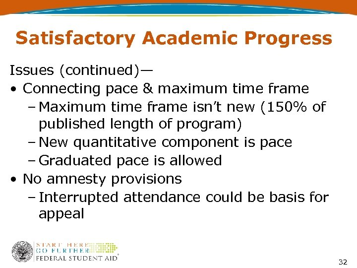 Satisfactory Academic Progress Issues (continued)— • Connecting pace & maximum time frame – Maximum