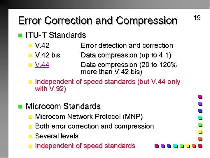 Error Correction and Compression n ITU-T Standards n n n V. 42 bis V.