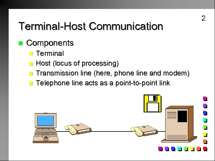 2 Terminal-Host Communication n Components n n Terminal Host (locus of processing) Transmission line