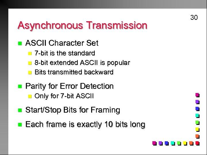 Asynchronous Transmission n ASCII Character Set n n 7 -bit is the standard 8