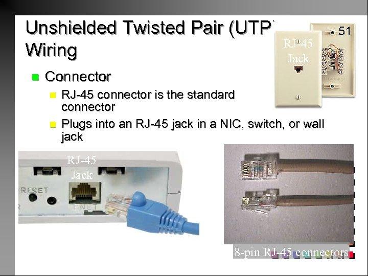 Unshielded Twisted Pair (UTP) Wiring n RJ-45 Jack 51 Connector n n RJ-45 connector