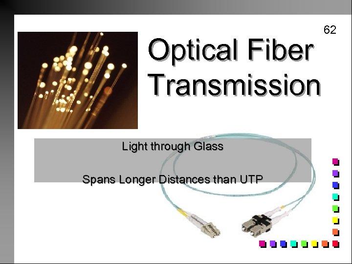 Optical Fiber Transmission Light through Glass Spans Longer Distances than UTP 62