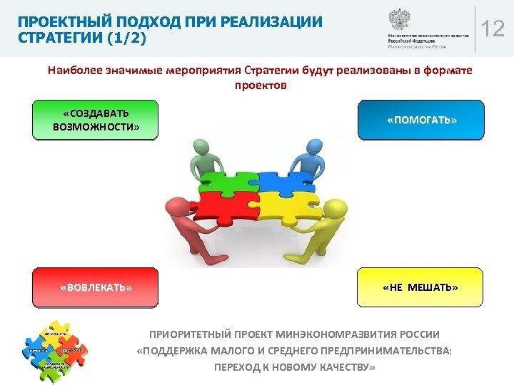 ПРОЕКТНЫЙ ПОДХОД ПРИ РЕАЛИЗАЦИИ СТРАТЕГИИ (1/2) 12 Наиболее значимые мероприятия Стратегии будут реализованы в