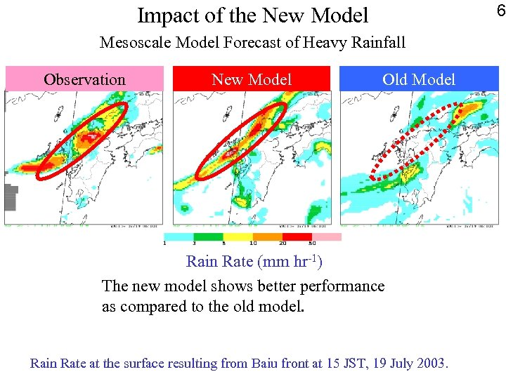 6 Impact of the New Model Mesoscale Model Forecast of Heavy Rainfall Observation New