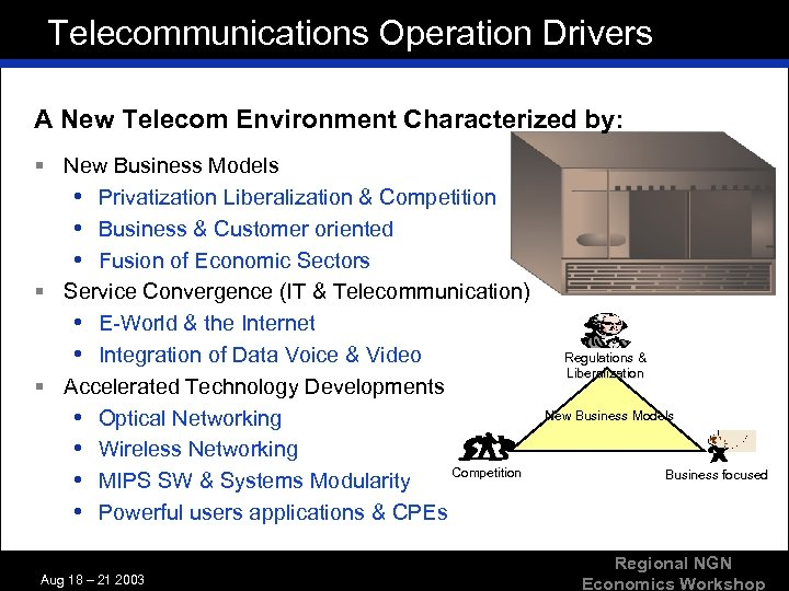 Telecommunications Operation Drivers A New Telecom Environment Characterized by: § New Business Models •