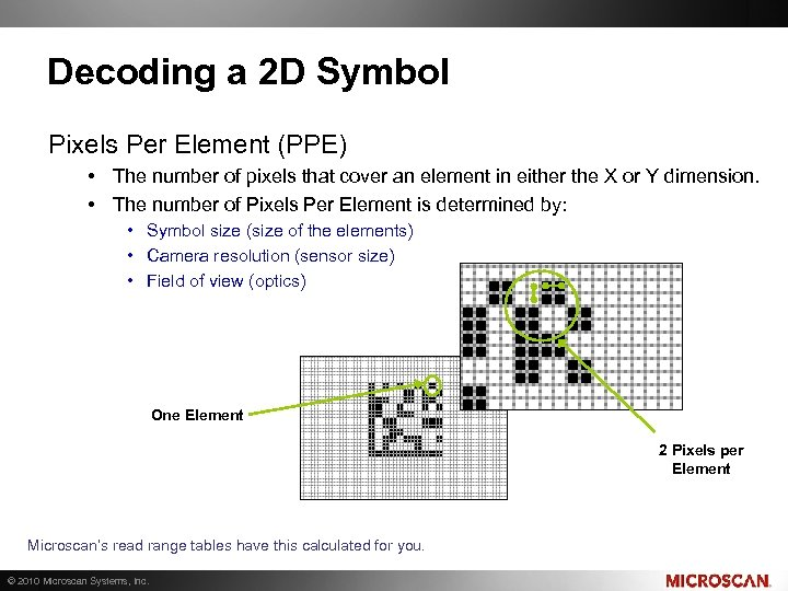 Decoding a 2 D Symbol Pixels Per Element (PPE) • The number of pixels