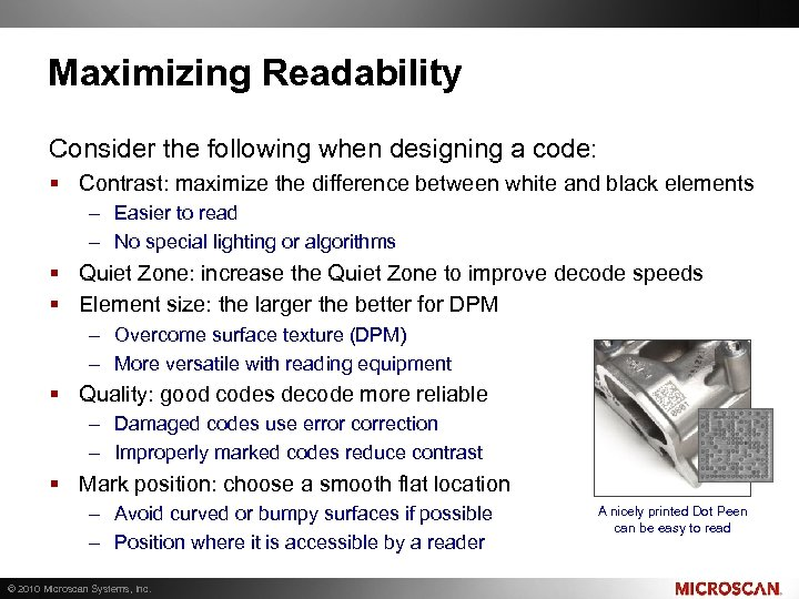 Maximizing Readability Consider the following when designing a code: § Contrast: maximize the difference