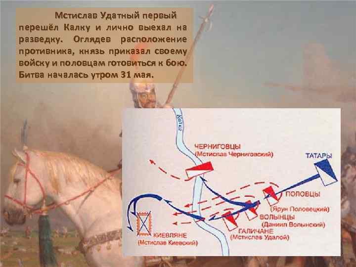 Мстислав Удатный первый перешёл Калку и лично выехал на разведку. Оглядев расположение противника, князь