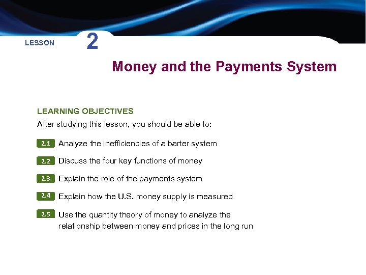 LESSON 2 Money and the Payments System LEARNING OBJECTIVES After studying this lesson, you