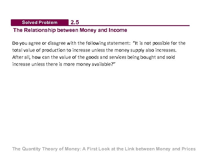 Solved Problem 2. 5 The Relationship between Money and Income Do you agree or