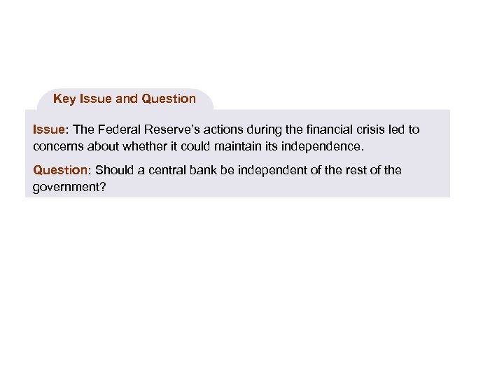 Key Issue and Question Issue: The Federal Reserve's actions during the financial crisis led