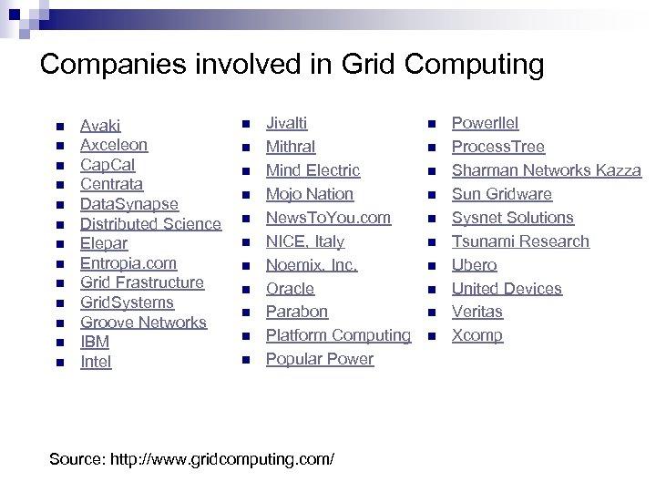 Companies involved in Grid Computing n n n n Avaki Axceleon Cap. Cal Centrata