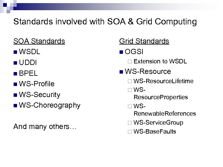 Standards involved with SOA & Grid Computing SOA Standards n WSDL n UDDI n