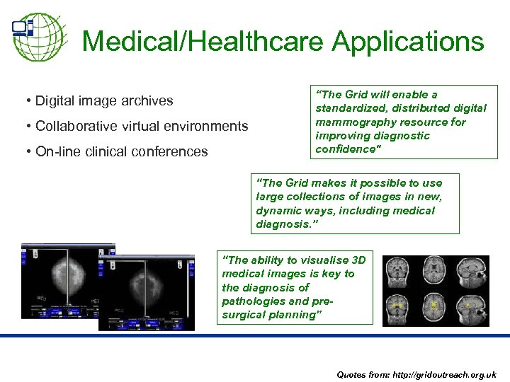 Medical/Healthcare Applications • Digital image archives • Collaborative virtual environments • On-line clinical conferences