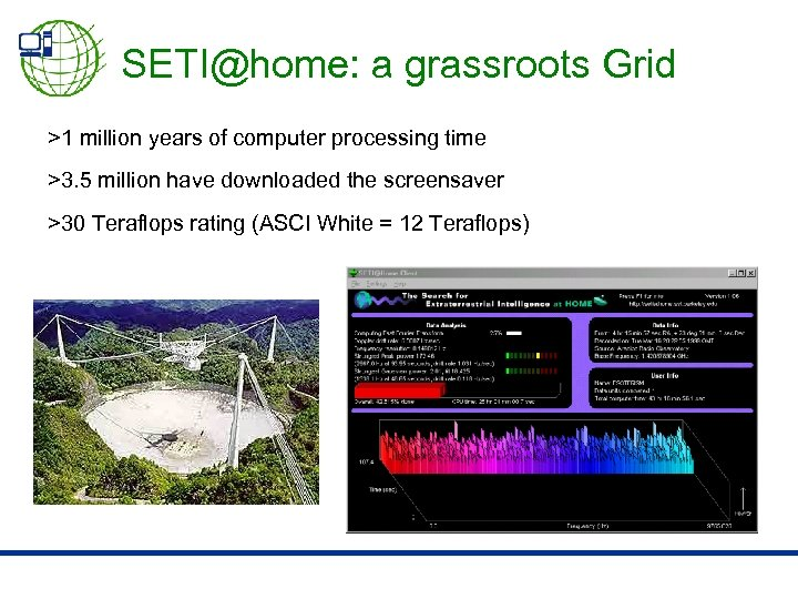 SETI@home: a grassroots Grid >1 million years of computer processing time >3. 5 million
