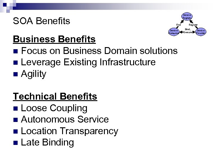 SOA Benefits Service Registry Find Service Consumer Business Benefits n Focus on Business Domain