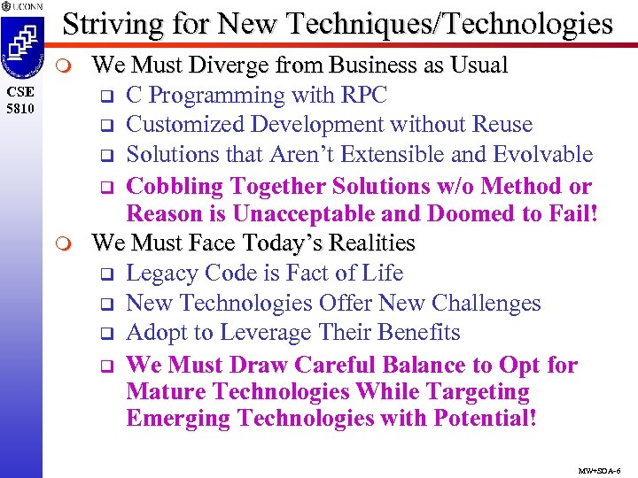 Striving for New Techniques/Technologies m CSE 5810 m We Must Diverge from Business as