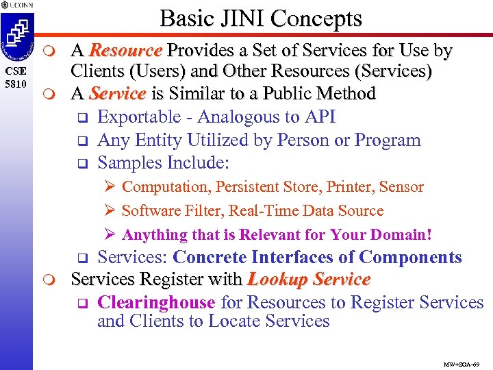 Basic JINI Concepts m CSE 5810 m A Resource Provides a Set of Services